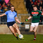 24 February 2018; Paul Mannion of Dublin shoots to score his side's first goal during the Allianz Football League Division 1 Round 4 match between Mayo and Dublin at Elverys MacHale Park in Castlebar, Co Mayo. Photo by Stephen McCarthy/Sportsfile