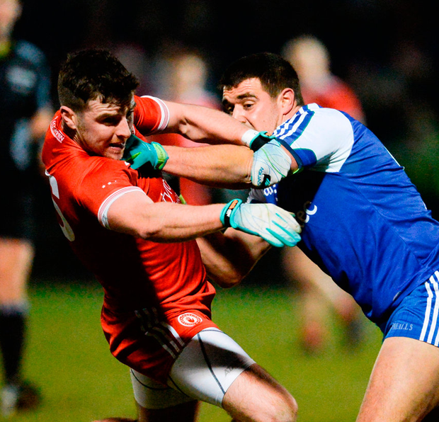 Tyrone's Connor McAliskey in action against Drew Wylie of Monaghan. Photo: Oliver McVeigh/Sportsfile