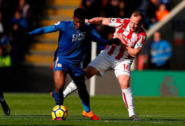 Leicester City's Kelechi Iheanacho in action with Stoke City's Charlie Adam. Photo: Andrew Boyers/Action Images