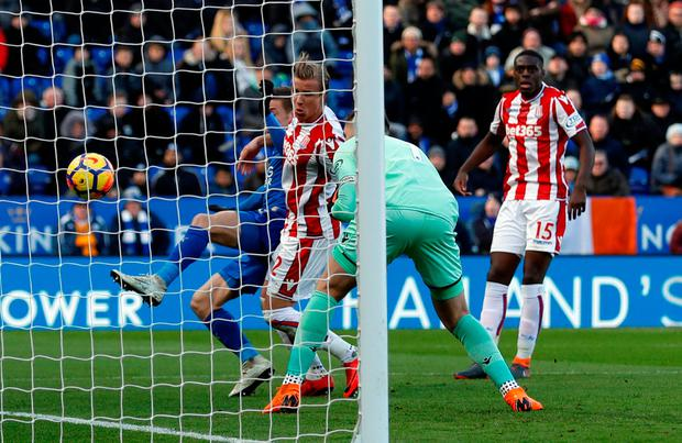 Stoke City goalkeeper Jack Butland scores an own goal at the King Power Stadium yesterday. Photo: Andrew Boyers/Action Images