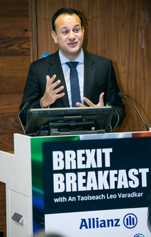 Leo Varadkar addresses the gathering at the Brexit Breakfast event in Trinity