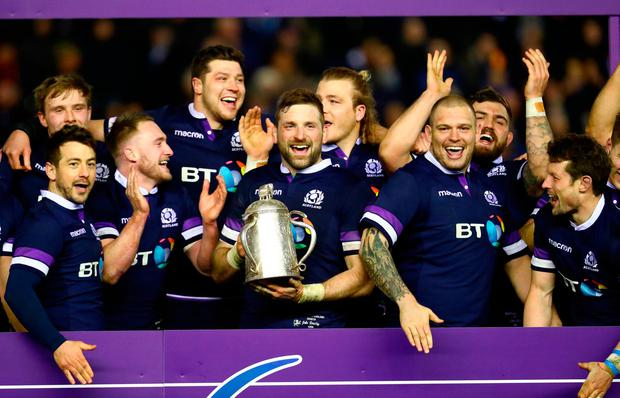 John Barclay of Scotland holds aloft the Calcutta Cup and helping Scotland to a victory over England in the Six Nations earlier this year