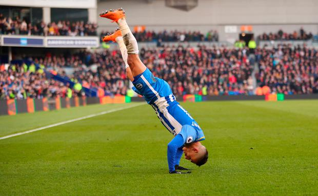 Brighton's Anthony Knockaert celebrates scoring their third goal Photo: Reuters