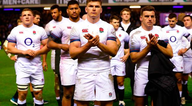 Owen Farrell and George Ford of England dejected after defeat