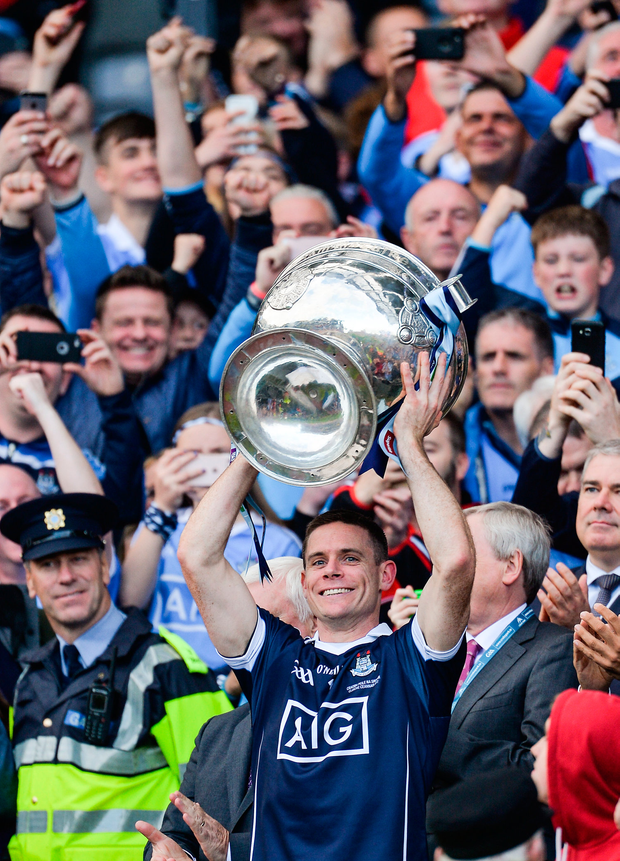 Dublin captain Stephen Cluxton lifts the Sam Maguire Cup
