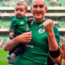 24 February 2018; Devin Toner of Ireland celebrates with his son Max, age 5 months, following the NatWest Six Nations Rugby Championship match between Ireland and Wales at the Aviva Stadium in Lansdowne Road, Dublin. Photo by David Fitzgerald/Sportsfile