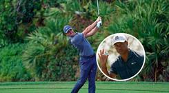 Rory McIlroy and (inset) Tiger Woods