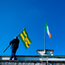 Johnny Gallagher puts up the tricolour and county flags prior to the Allianz Football League Division 1 Round 4 match between Donegal and Kildare at Fr Tierney Park in Ballyshannon, Co Donegal. Photo by Stephen McCarthy/Sportsfile