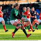 Claire Molloy of Ireland scores her side's fifth try