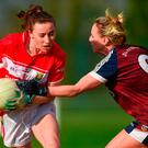 Melissa Duggan of Cork in action against Fiona Claffey of Westmeath