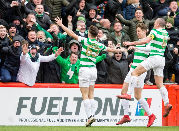 Celtic's Kieran Tierney celebrates scoring his side's second goal of the game. Photo: PA Wire