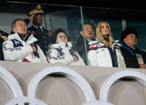 South Korean President Moon Jae-in, his wife Kim Jung-sook, White House adviser Ivanka Trump, and Kim Yong Chol of the North Korea delegation at the closing ceremony of the Pyeongchang 2018 Winter Olympics. Photo: REUTERS