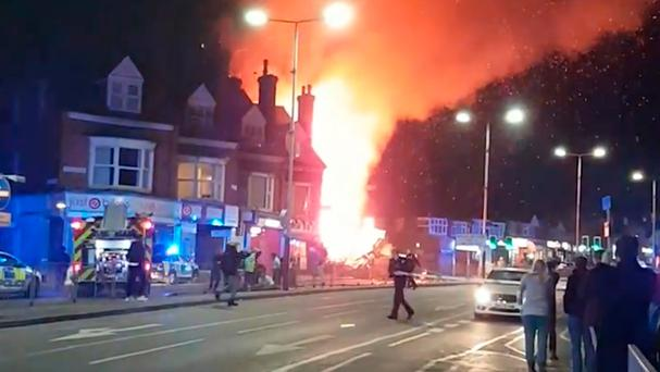At around 7.03pm Leicestershire Fire and Rescue received calls from the public who said they had heard a blast on Hinckley Road Photo: Graeme Hudson/PA Wire