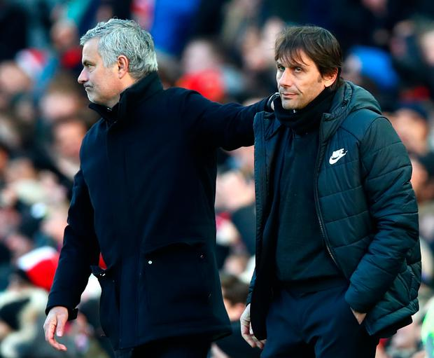 Jose Mourinho and Antonio Conte shake hands. Photo: Getty Images