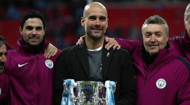 Pep Guardiola won his first trophy as Man City boss as he lifted the Carabao Cup in February