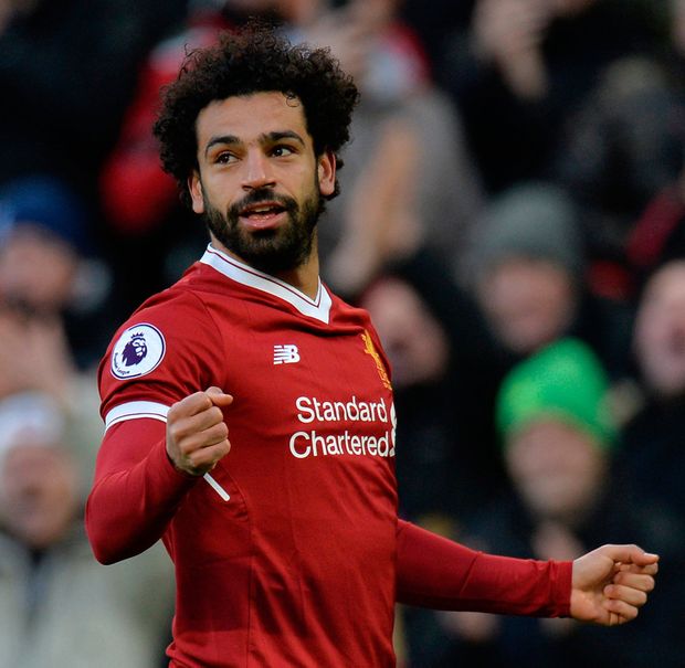 Liverpool's Mohamed Salah celebrates scoring their second goal. Photo: Reuters