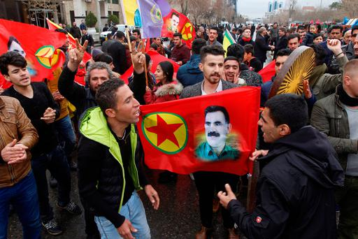 Kurdish people protest against the Turkish military operations in Afrin, in Sulaimaniyah, Iraq. REUTERS/Ako Rasheed