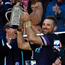 Scotland's flanker John Barclay lifts the Calcutta Cup for Scotland. Photo: Getty Images