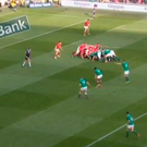 Ireland win a scrum in an ideal attacking position and Sexton instructs Conor Murray to pass to Chris Farrell and not him. The Munster centre makes a powerful carry in midfield that gets Ireland over the gain line and suddenly the Welsh defence is scrambling.