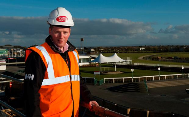 Michael Moloney, general manager of Ballybrit, enjoys a prime view of the track from the site of the new Tote and Champagne bar where racegoers will be able to watch the Galway Races action this summer. Photo: Andrew Downes