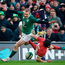 Ireland's Keith Earls and Wales' Leigh Halfpenny challenge for the ball on the Welsh tryline during Saturday's Six Nations clash. Photo: Getty Images