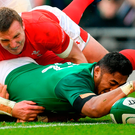 Bundee Aki's try was cheered loudest by all of us who measure Irishness by deed and not by birth. Photo: Sportsfile