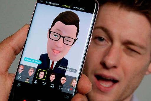 The new Samsung Galaxy S9 incorporates an animated avatar like that of the iPhone X. Photo: AP