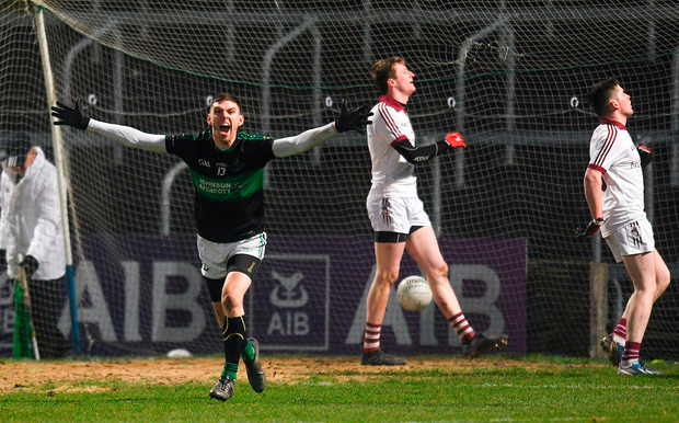 Nemo Rangers' Luke Connolly celebrates scoring his side's second goal against Slaughtneil in O'Moore Park. Photo: Sportsfile
