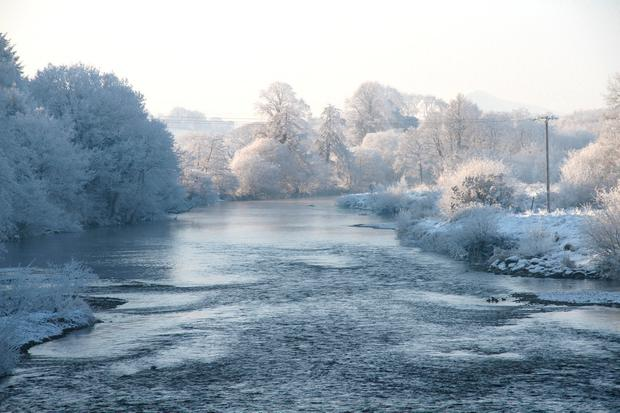 An icy image of the River Blackwater near Kanturk, Co Cork