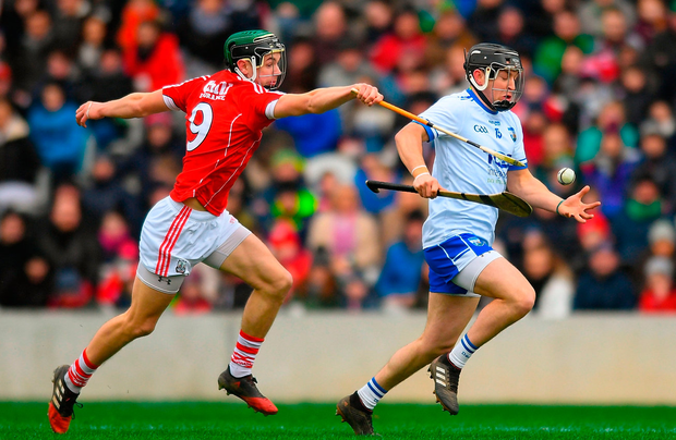 Mikey Kearney of Waterford in action against Mark Coleman of Cork during the Allianz Hurling League Division 1A Round 4 match between Cork and Waterford at Páirc Uí Chaoimh in Cork. Photo: Eóin Noonan/Sportsfile