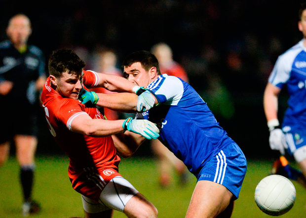 Connor McAliskey of Tyrone in action against Drew Wylie of Monaghan Photo: Sportsfile