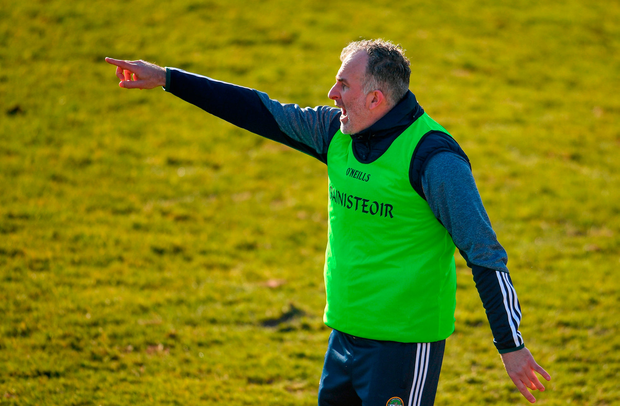 Offaly manager Stephen Wallace directs the action Photo: Sportsfile