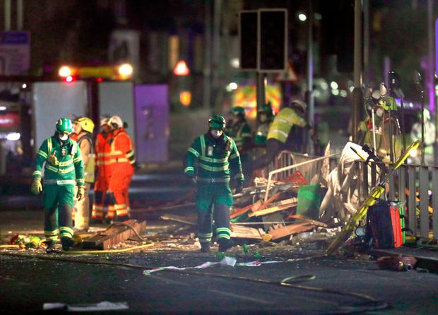 Emergency personnel at the scene on Hinckley Road in Leicester, after a