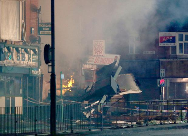 The scene on Hinckley Road in Leicester, after a
