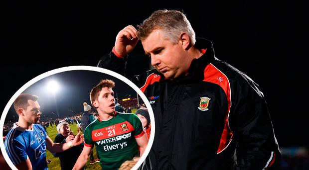 Mayo boss Stephen Rochford and (inset) Dean Rock and Lee Keegan after the game