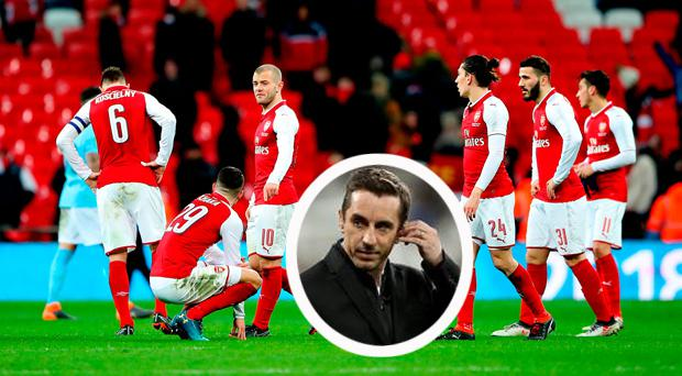 Arsenal players dejected after Cup defeat and (inset) Gary Neville was scathing in his criticism