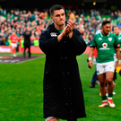 Jonathan Sexton of Ireland leaves the pitch after beating Wales