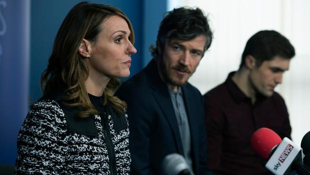 Suranne Jones as Claire McGory and Barry Ward as Barry McGory and Phil Dunster as BJ McGory. Photographer: Des Willie