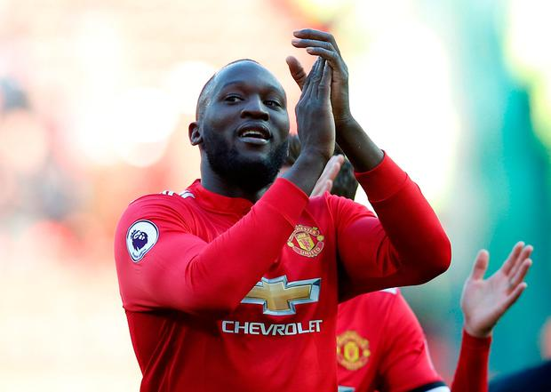 Manchester United's Romelu Lukaku applauds the fans
