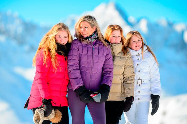 (L-R) Princess Catharina-Amalia of the Netherlands, Queen Maxima of the Netherlands, Princess Alexia of the Netherlands and Princess Ariane of the Netherlands pose at a photocall during their ski holidays, in Lech am Arlberg, Austria, on February 26, 2018. / AFP PHOTO / APA / DIETMAR STIPLOVSEK / Austria OUTDIETMAR STIPLOVSEK/AFP/Getty Images