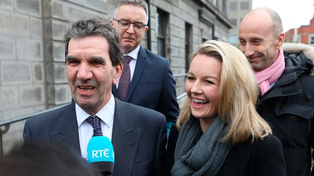 Tom McGuire - head of RTE Radio 1 and Presenter, Claire Byrne pictured speaking to the media outside the Four Courts after Nicky Kehoe was awarded €3,500 damages following a High Court action. Also pictured: Peter Woods, Current Affairs Editor for RTÉ Radio 1 and Jon Williams, RTE Managing Director of News and Current Affairs. Photo: Collins Courts