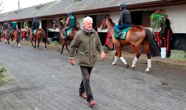 Willie Mullins during yesterday's visit to his stables in Closutton. Photo credit: Niall Carson/PA Wire