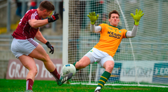 Kerry goalkeeper Brian Kelly makes a close-range save from Shane Walsh as Galway created a number of goal chances in Tralee on Sunday. Photo by Diarmuid Greene/Sportsfile
