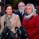 Sinn Féin's vice president Michelle O'Neill (right), Sinn Féin's president Mary Lou McDonald (centre), and Conor Murphy (left) speaking to the media on College Green in Westminster, London. Photo: PA