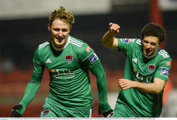 Kieran Sadlier (left) scored for Cork City against Sligo Rovers