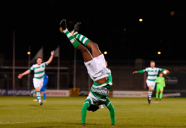 Shamrock Rovers' Dan Carr celebrates scoring his side's third goal with a cartwheel at Tallaght Stadium last night. Photo by Eóin Noonan/Sportsfile