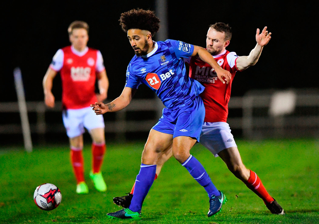 Bastien Hery in action against Conan Byrne of St Patrick's Athletic. Photo by Harry Murpy/Sportsfile