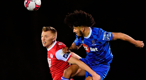 Bastien Hery of Waterford in action against Jamie Lennon of St Patrick's Athletic. Photo by Harry Murpy/Sportsfile