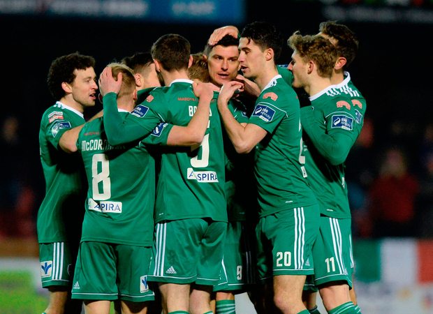 Graham Cummins celebrates with team-mates after scoring. Photo by Oliver McVeigh/Sportsfile