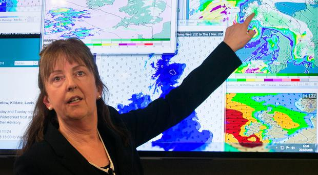 Evelyn Cusack of Met Éireann at the National Emergency Co-ordination Centre, Agriculture House, Kildare St, Dublin. Photo: Gareth Chaney/Collins